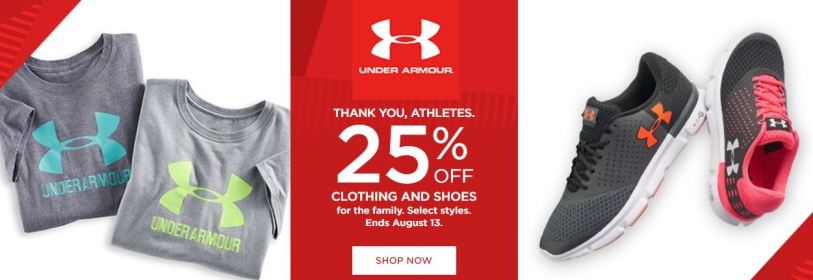 2db42184e4 The Under Armour Wars are going strong today! Head over to Kohl's where  they are offering 25% off Under Armour Clothing and Shoes for the entire  family.