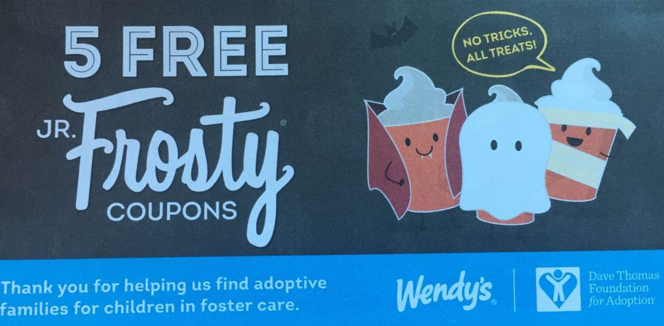 photograph relating to Wendy's Printable Coupons identified as Wendys - Halloween Coupon E-book - 5 Cost-free Jr. Frosty Coupon codes