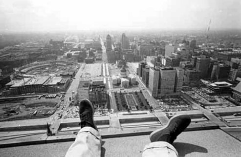 Sitting on the St. Louis arch