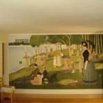 Pointillism mural painted with a sponge