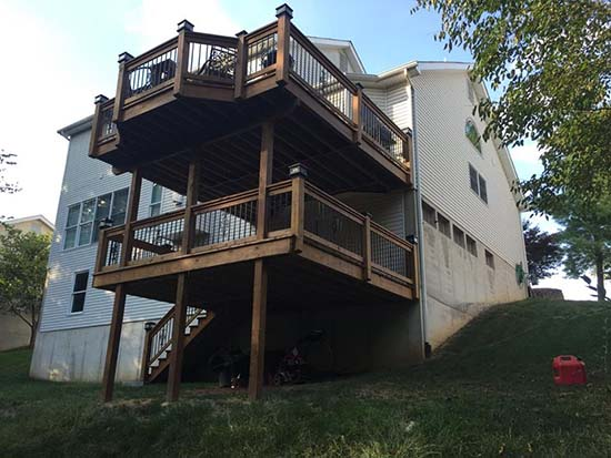 two story deck staining