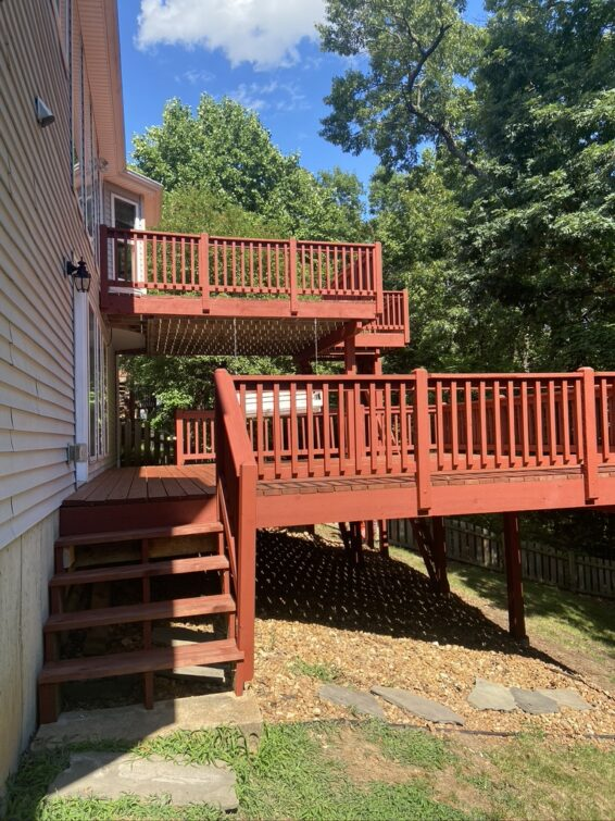2 story deck staining
