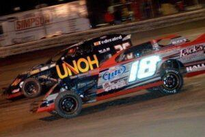 Kenny Wallace passing Michael Long for the lead