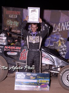 Bryan Clauson in victory circle. Photo by Tim Aylwin.