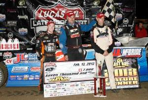 Dennis Erb Wins Wednesday's Rain Shortend Feature Event. Tyler Reddick (far left) finished second and Eric Jacobson finished third.