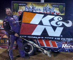 """Scott Crigler raced his #12 Modified to victory over drivers from six states in the """"Bootheel 200"""" Finale on Saturday at Poplar Bluff Speedway."""
