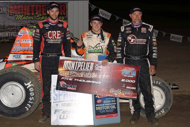 Top 3 left-2nd place Kyle Cummins winner Brady Bacon 3rd place Dave Darland-right - Jim Denhamer photo
