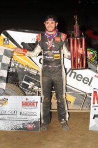 "Kyle Larson won Tuesday night's ""Indiana Midget Week"" opener at Montpelier Motor Speedway. (DAVID NEARPASS PHOTO)"