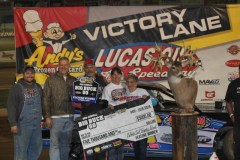 Tim Brown earned $5,000 and a free Whitetail Trophy hunt for his win in the Big Buck 50 Street Stock Special Presented by Whitetail Trophy Hunt. (Chris Bork photo)