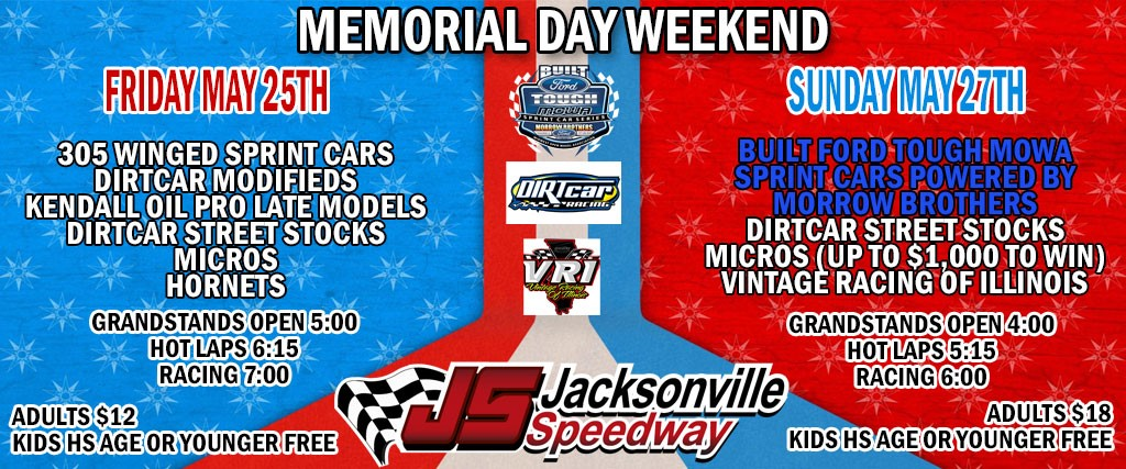 Two Big Events At Jacksonville Speedway This Memorial Day Weekend
