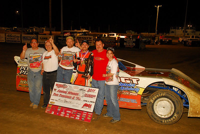 Matt Bailey celebrates with his family and crew after picking up his first ever Deery Brothers IMCA Late Model Series Feature Win at Quincy Raceways on Sunday April 10, 2011. Photo by Hulett Photography.