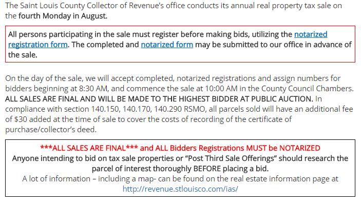 St. Louis County Tax Sale saint louis county property auction