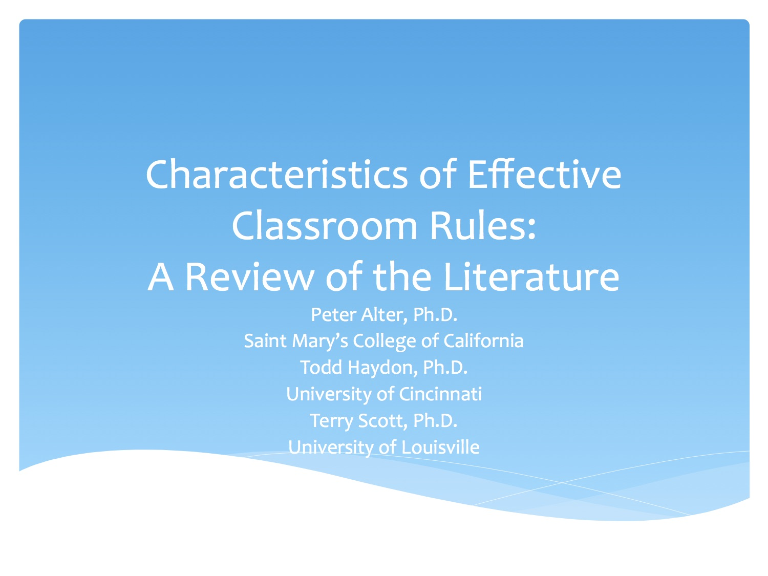 Characteristics Of Effective Classroom Rules A Review Of