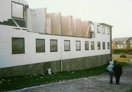 Aftermath of 1989 storm, showing damage to the north east (Dymchurch) wing