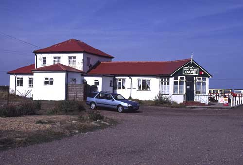The station buildings at Dungeness, with a rather good cafe.