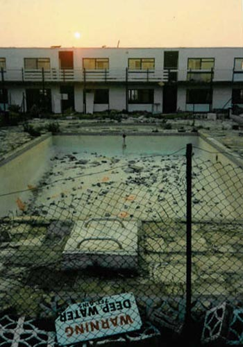The pool emptied and fenced