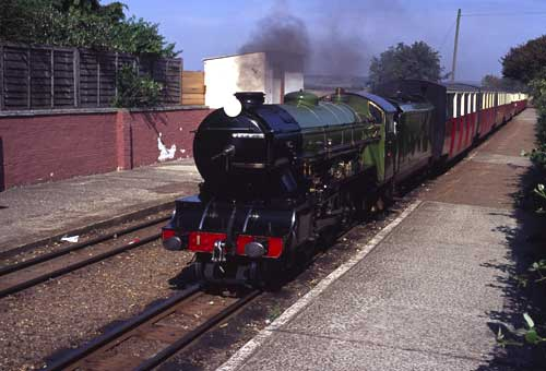 """No 1, """"Green Goddess"""", arriving to work the 11.55 to Dungeness"""