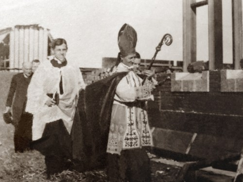 blessing of the cornerstone of Mount St. Michael in 1915