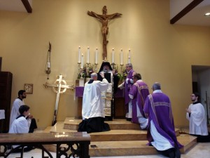 The Pontifical (bishop's) blessing at the end of the Sunday Mass
