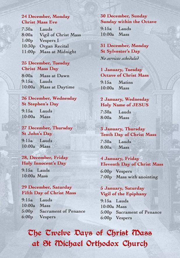The Twelve days of Christ Mass