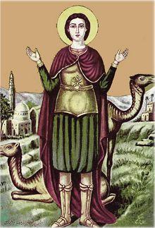 Ikone der von koptischen Kirche als Heilige verehrten Mina
