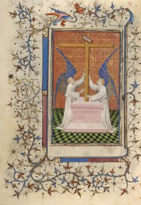 """Two Angels Displaying the Cross."" originates from France circa 1410 /Courtesy of Getty Search Gateway"