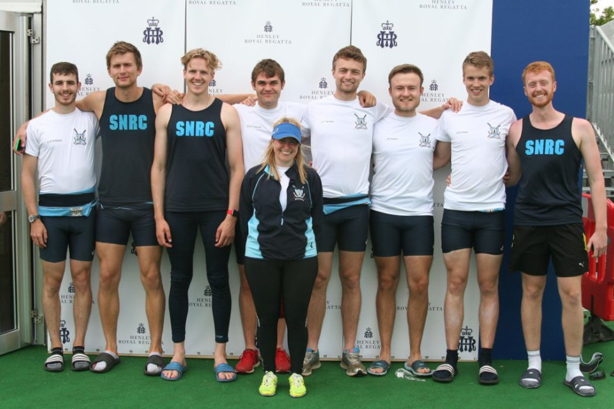 St Neots men's eight at Henley (left to right): Adam Williams, Max Taylor, Edd Maryon, Dom Chapman (men's captain), Tammy Finnigan (cox), Huw Jarman, Josh Dexter, Bryce Taylor and Tom Colbert.