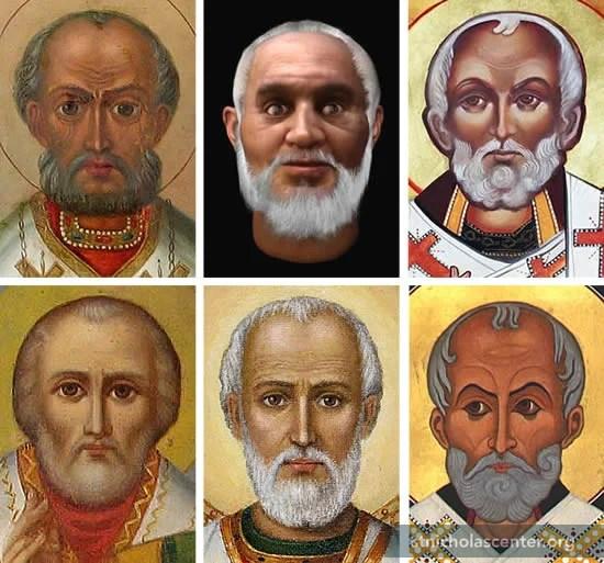 Images of six St Nicholas faces