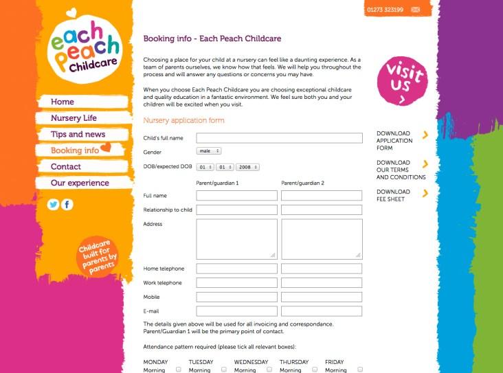 Website design for Each Peach Childcare in Brighton