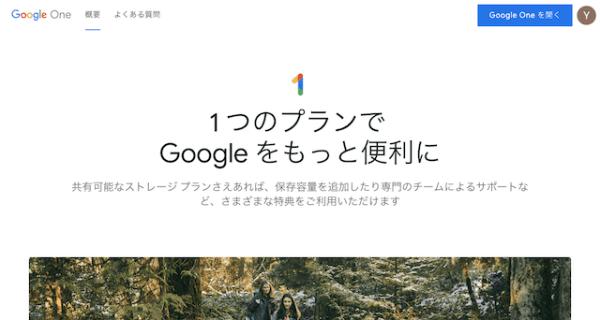 Google Oneのトップページ