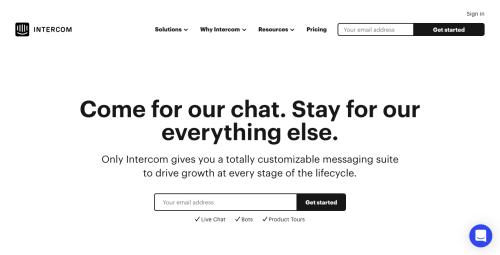Intercomのトップページ