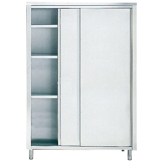 armoire inox de rangement avec portes coulissantes et 3 etageres 1300x600 mm