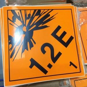1.2E label, explosive class 1.2E placards