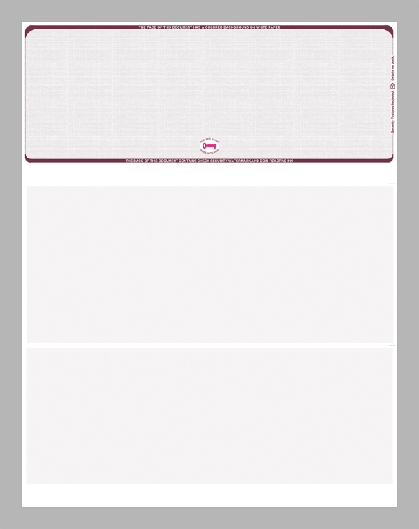 Burgundy Linen Top Position Equal Perforations Blank Laser Check
