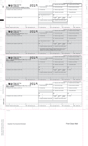 Pressure seal 2019 w-2 tax forms 4 stacked with grids
