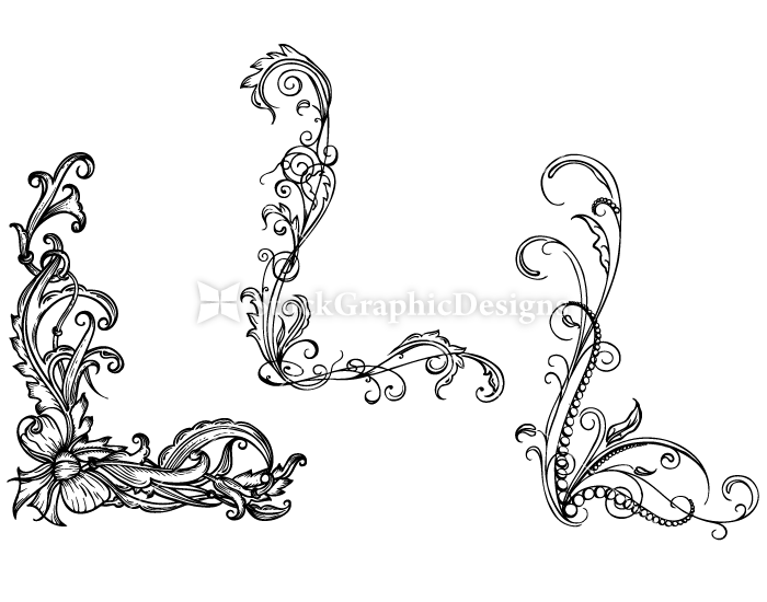 Hand Drawn Floral Corners Set 17 Vector amp Photoshop Brushes Stock Graphic Designs