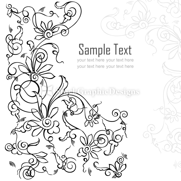 Line Art Card Design : Vector floral card background design set