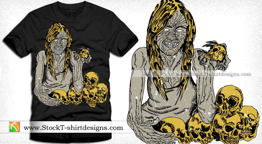 378fa917 Vector T-shirt Design with Demon Tattoo Face | Vector T-Shirt ...