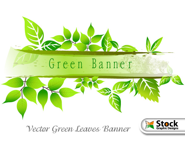 Vector Green Leaves Banner Vector Amp Photoshop Brushes