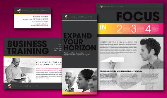 Adult Education Brochure, Newsletter, Postcard, Flyer & Ads, Tri-Fold Brochure, and Stationery Designs