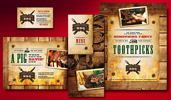 BBQ Restaurant Menu, Take-out Menu, Flyer & Ads, Postcard, and Stationery Designs
