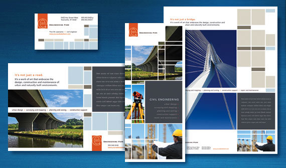 Civil Engineering Brochure, Flyer & Ads, Stationery, Datasheet and Tri-Fold Brochure Designs