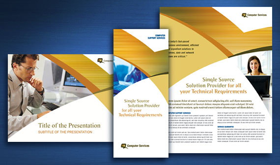 Computer Services & Consulting Brochure, Datasheet, Flyer & Ads, Presentation, and Stationery Designs