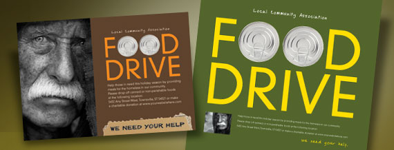 Holiday Food Drive Poster, Flyer & Ad and Postcard Designs