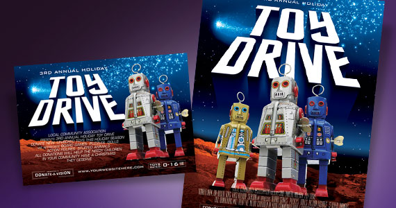 Holiday Toy Drive Poster, Flyer & Ad and Postcard Designs