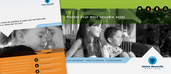 Home Security Brochure, Postcard, Flyer, Ad and Stationery Designs