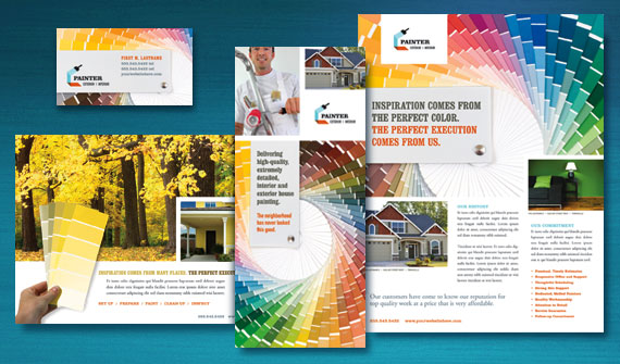House Painting Contractor Brochure Postcard Flyer Ads Datasheet And Stationery Designs