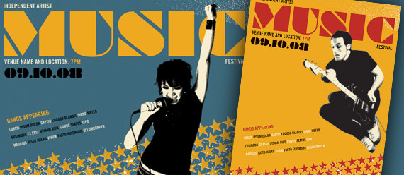 Live Music Festival Posters, Flyer & Ad and CD Imprint & Booklet Designs