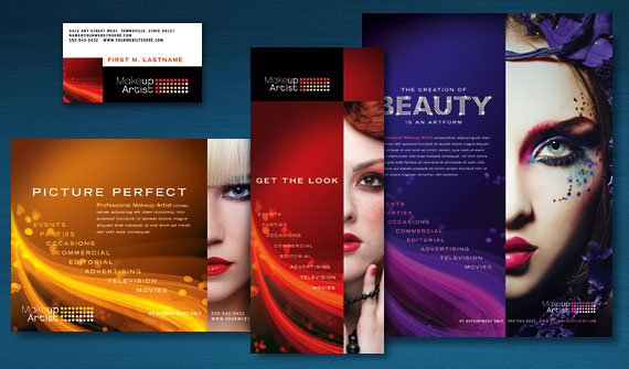 Makeup Artist Brochure, Postcard, Flyer & Ads, and Stationery Designs