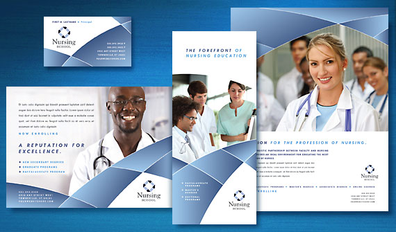 create quality marketing materials for a nursing school with graphic design templates